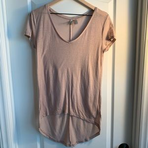 Very soft long T-shirt light tanish-pink Size XS